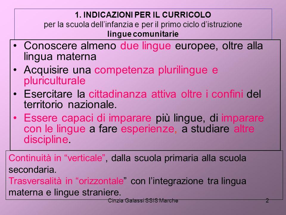 Cinzia Galassi SSIS Marche2 1. INDICAZIONI PER IL CURRICOLO per la scuola dellinfanzia e per il primo ciclo distruzione lingue comunitarie Conoscere a