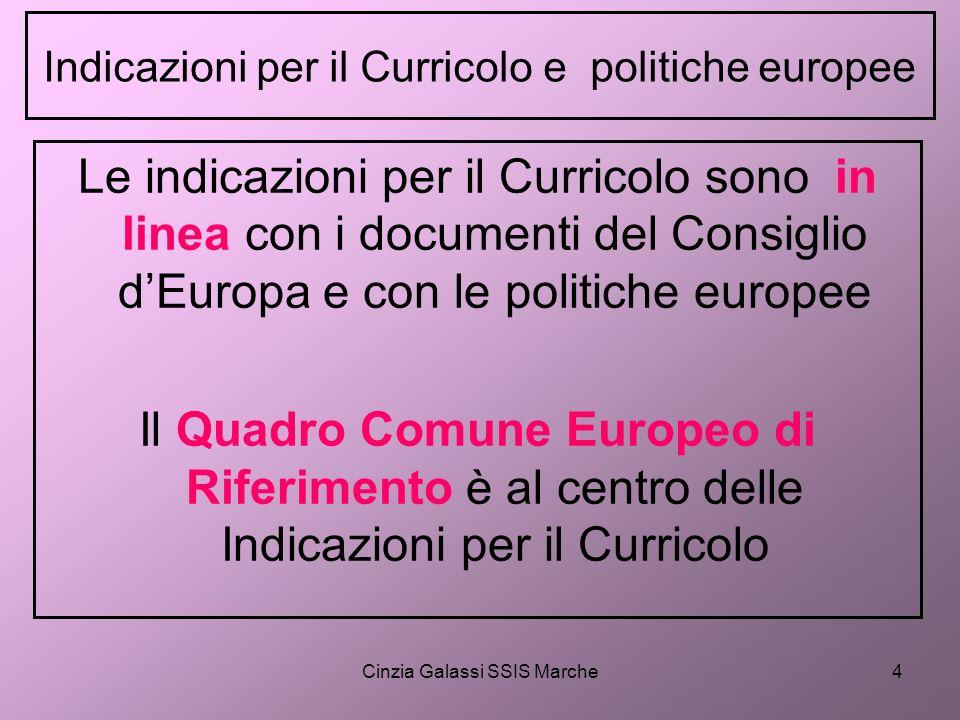 Cinzia Galassi SSIS Marche4 Indicazioni per il Curricolo e politiche europee Le indicazioni per il Curricolo sono in linea con i documenti del Consigl