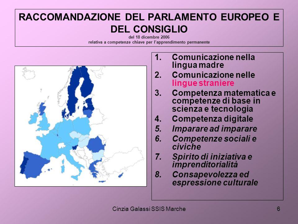 Cinzia Galassi SSIS Marche6 RACCOMANDAZIONE DEL PARLAMENTO EUROPEO E DEL CONSIGLIO del 18 dicembre 2006 relativa a competenze chiave per lapprendiment