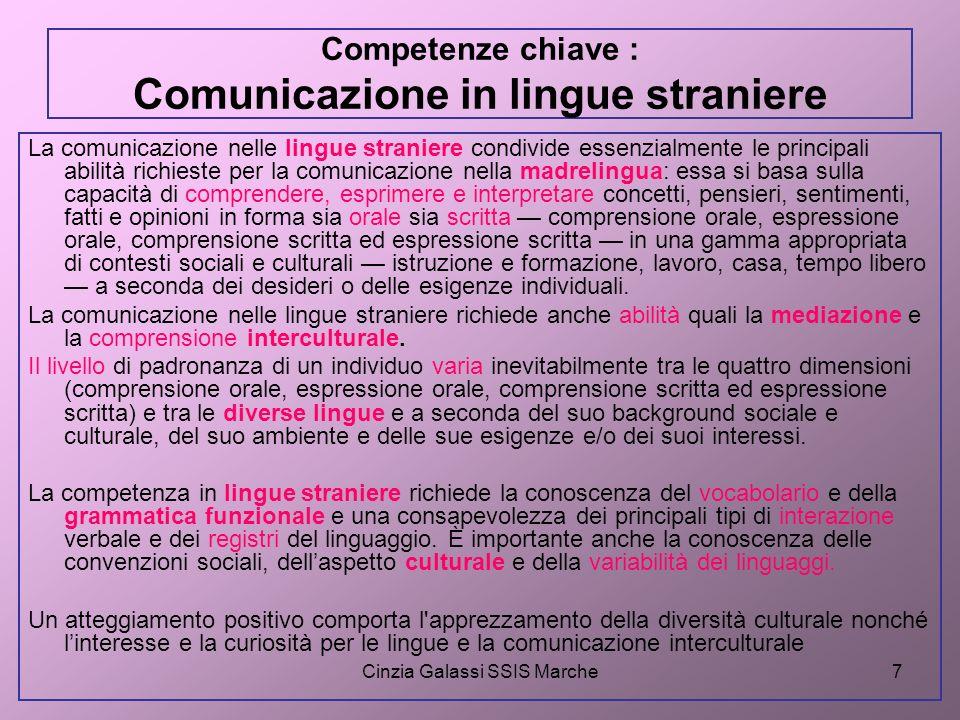 Cinzia Galassi SSIS Marche7 Competenze chiave : Comunicazione in lingue straniere La comunicazione nelle lingue straniere condivide essenzialmente le