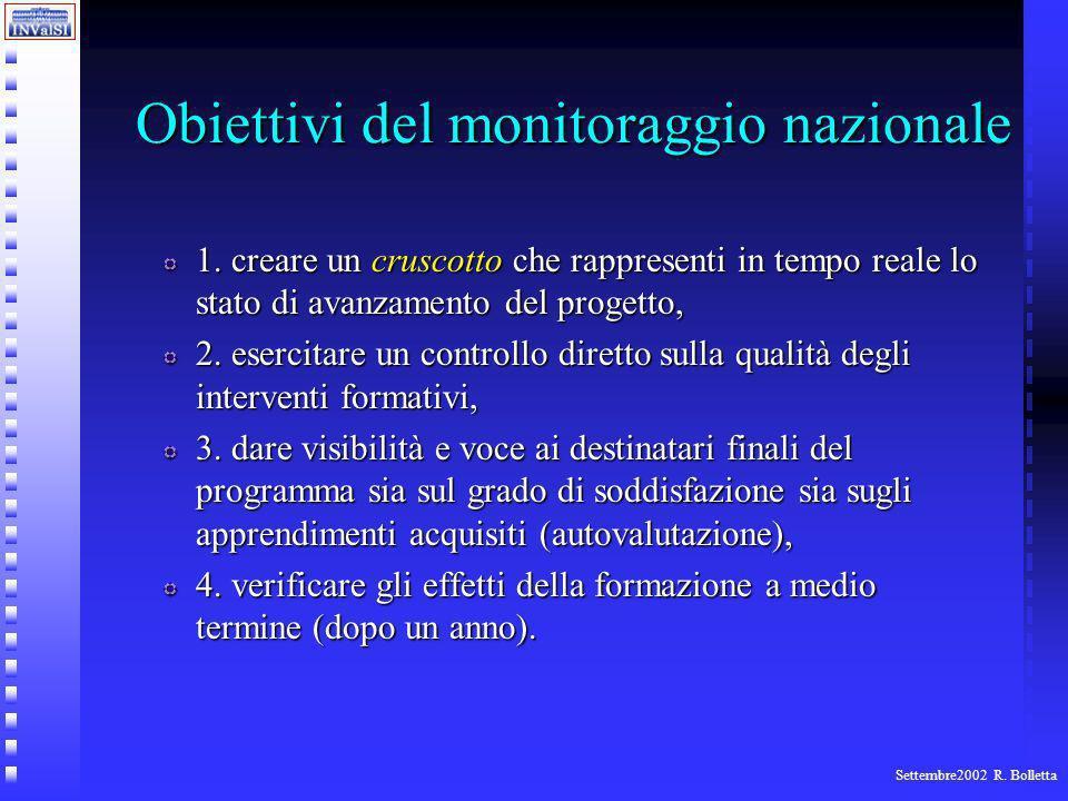 Settembre2002 R. Bolletta Obiettivi del monitoraggio nazionale 1.