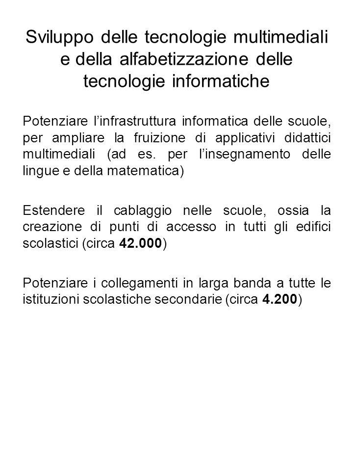 Sviluppo delle tecnologie multimediali e della alfabetizzazione delle tecnologie informatiche Potenziare linfrastruttura informatica delle scuole, per ampliare la fruizione di applicativi didattici multimediali (ad es.