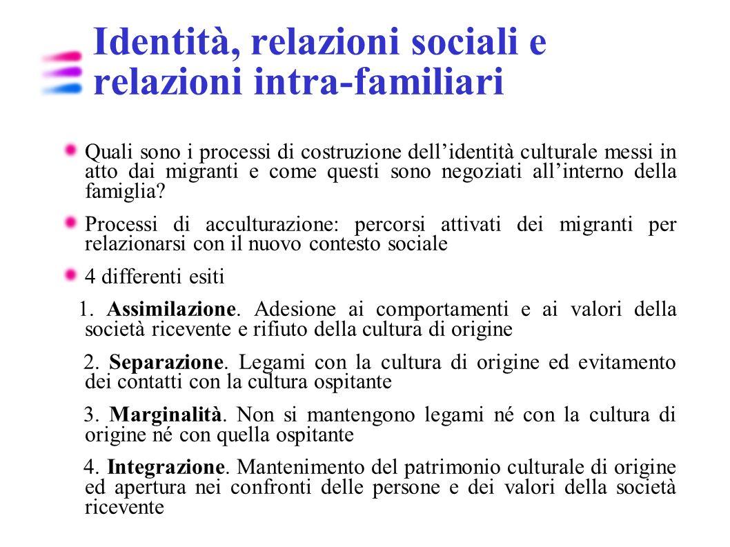 Identità, relazioni sociali e relazioni intra-familiari Quali sono i processi di costruzione dellidentità culturale messi in atto dai migranti e come