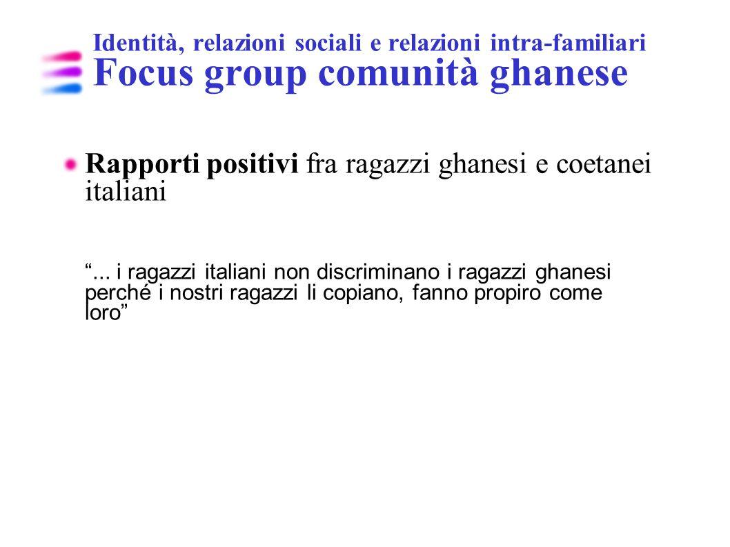 Identità, relazioni sociali e relazioni intra-familiari Focus group comunità ghanese Rapporti positivi fra ragazzi ghanesi e coetanei italiani... i ra