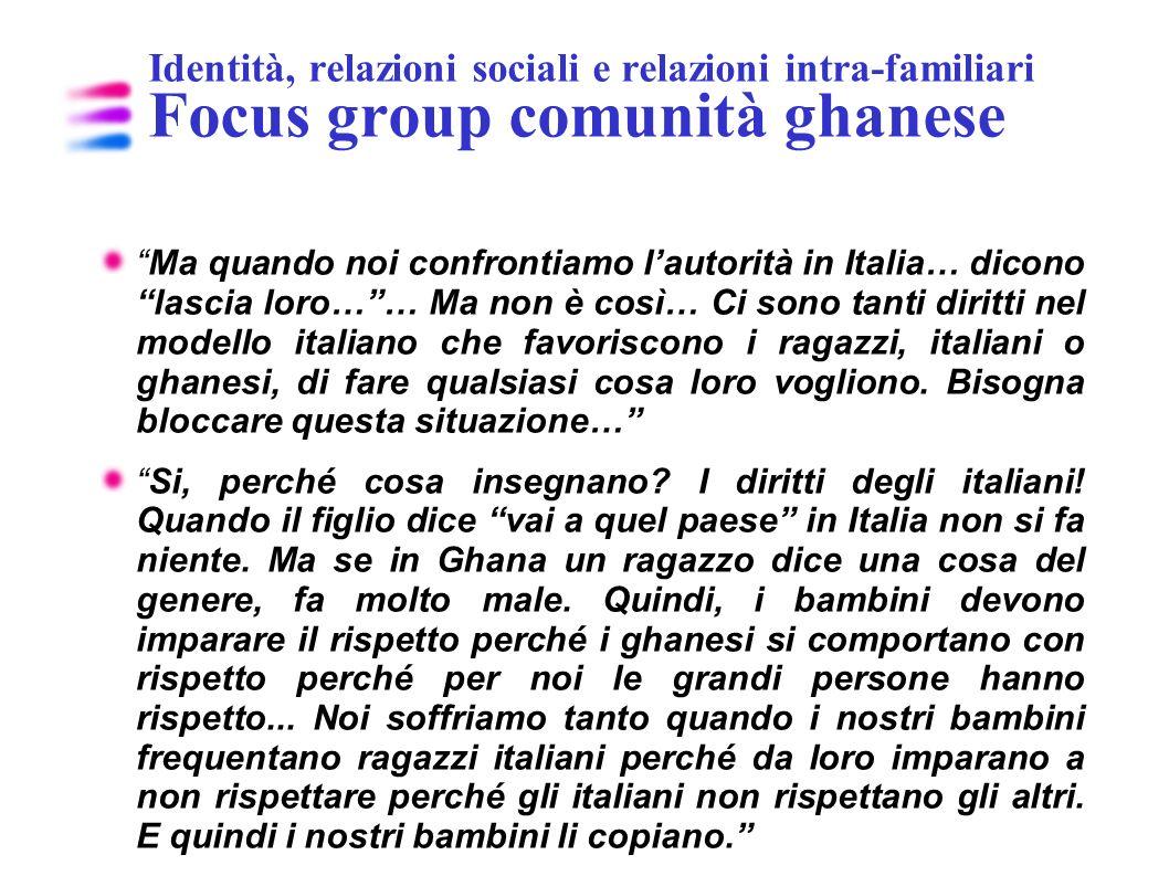 Identità, relazioni sociali e relazioni intra-familiari Focus group comunità ghanese Ma quando noi confrontiamo lautorità in Italia… dicono lascia lor