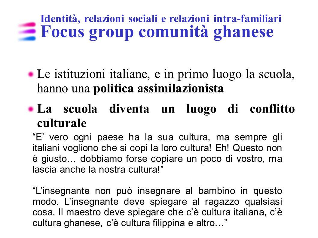 Identità, relazioni sociali e relazioni intra-familiari Focus group comunità ghanese Le istituzioni italiane, e in primo luogo la scuola, hanno una po
