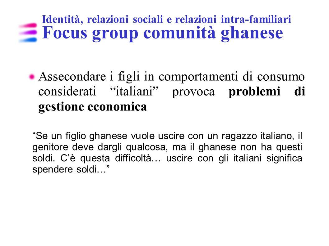 Identità, relazioni sociali e relazioni intra-familiari Focus group comunità ghanese Assecondare i figli in comportamenti di consumo considerati itali