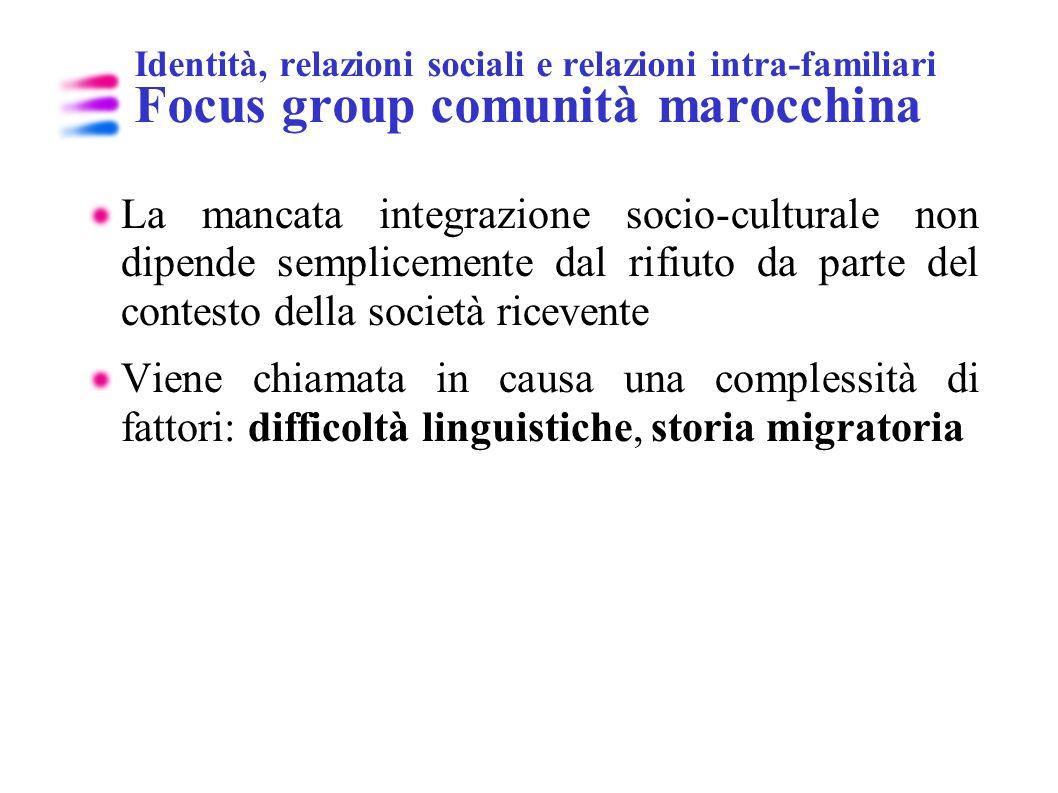 Identità, relazioni sociali e relazioni intra-familiari Focus group comunità marocchina La mancata integrazione socio-culturale non dipende sempliceme