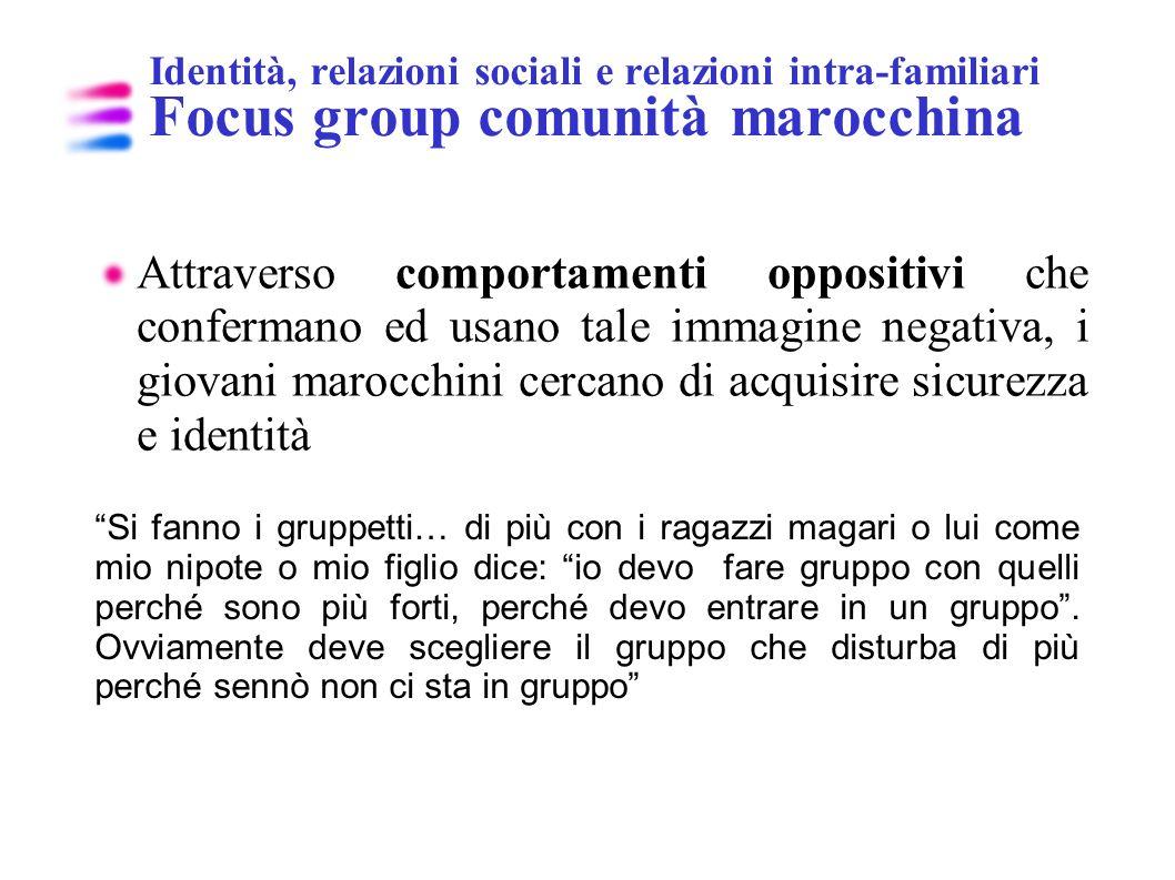 Identità, relazioni sociali e relazioni intra-familiari Focus group comunità marocchina Attraverso comportamenti oppositivi che confermano ed usano ta