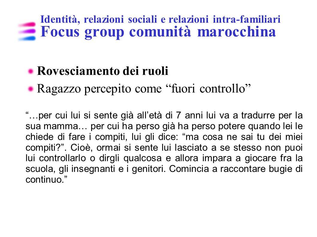 Identità, relazioni sociali e relazioni intra-familiari Focus group comunità marocchina Rovesciamento dei ruoli Ragazzo percepito come fuori controllo
