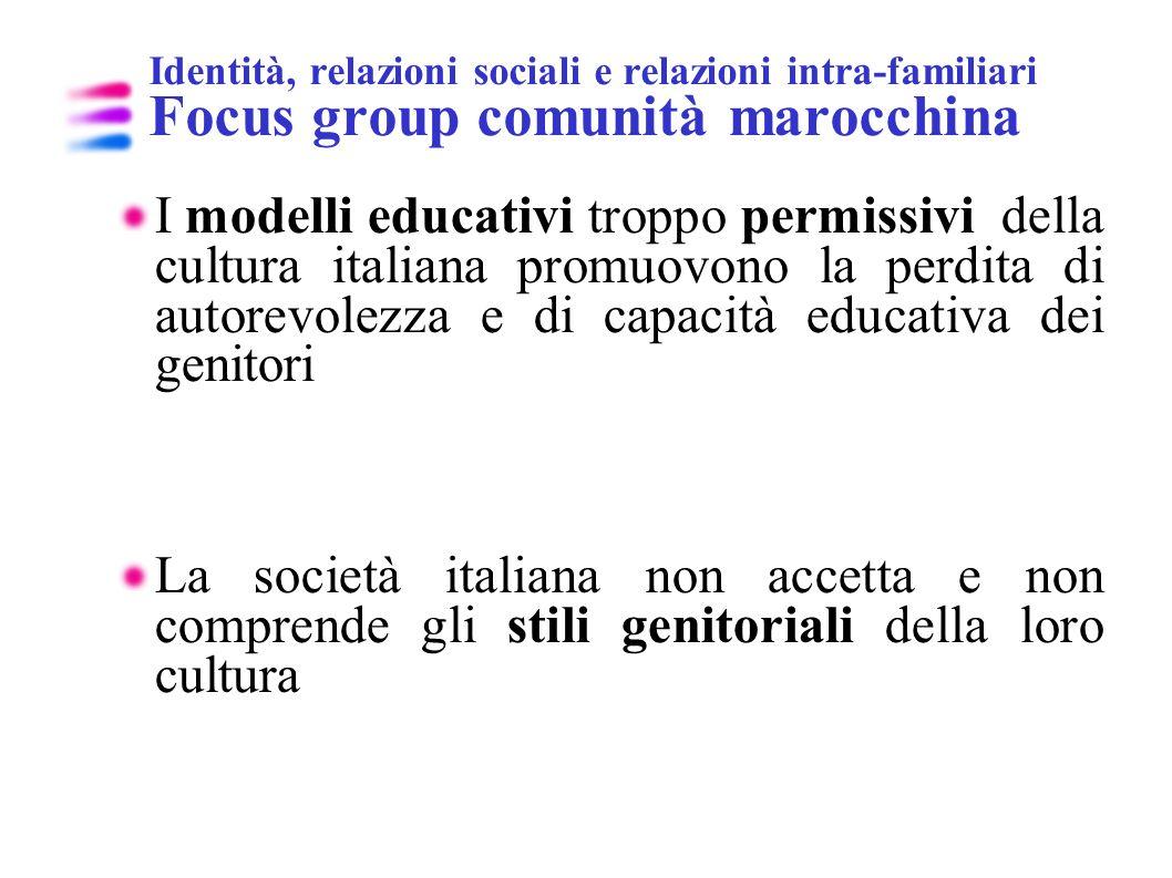 Identità, relazioni sociali e relazioni intra-familiari Focus group comunità marocchina I modelli educativi troppo permissivi della cultura italiana p