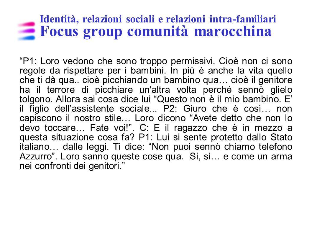Identità, relazioni sociali e relazioni intra-familiari Focus group comunità marocchina P1: Loro vedono che sono troppo permissivi. Cioè non ci sono r