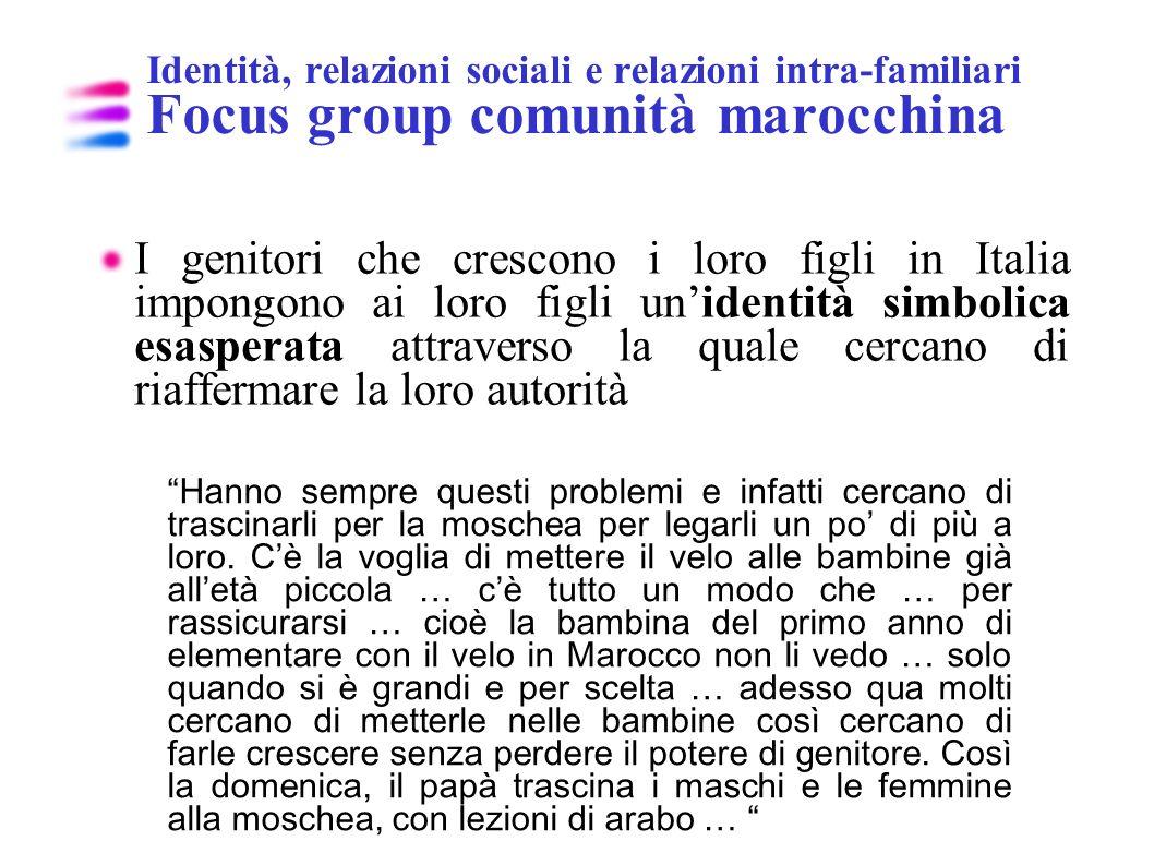 Identità, relazioni sociali e relazioni intra-familiari Focus group comunità marocchina I genitori che crescono i loro figli in Italia impongono ai lo