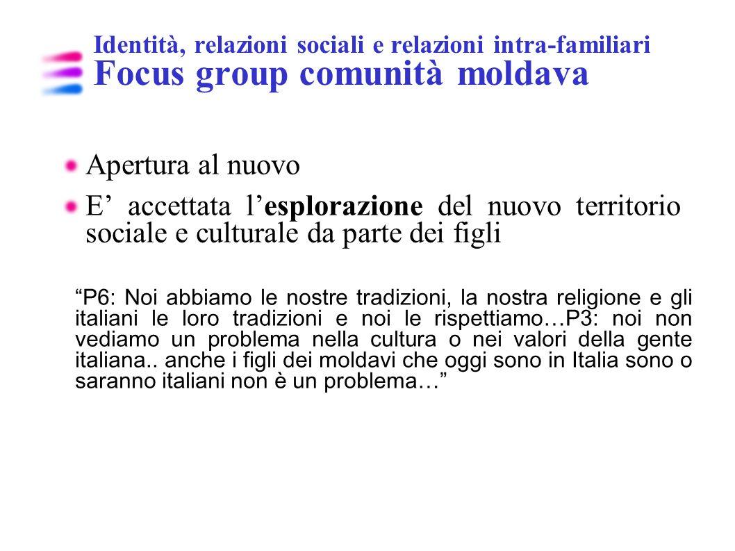 Identità, relazioni sociali e relazioni intra-familiari Focus group comunità moldava Apertura al nuovo E accettata lesplorazione del nuovo territorio