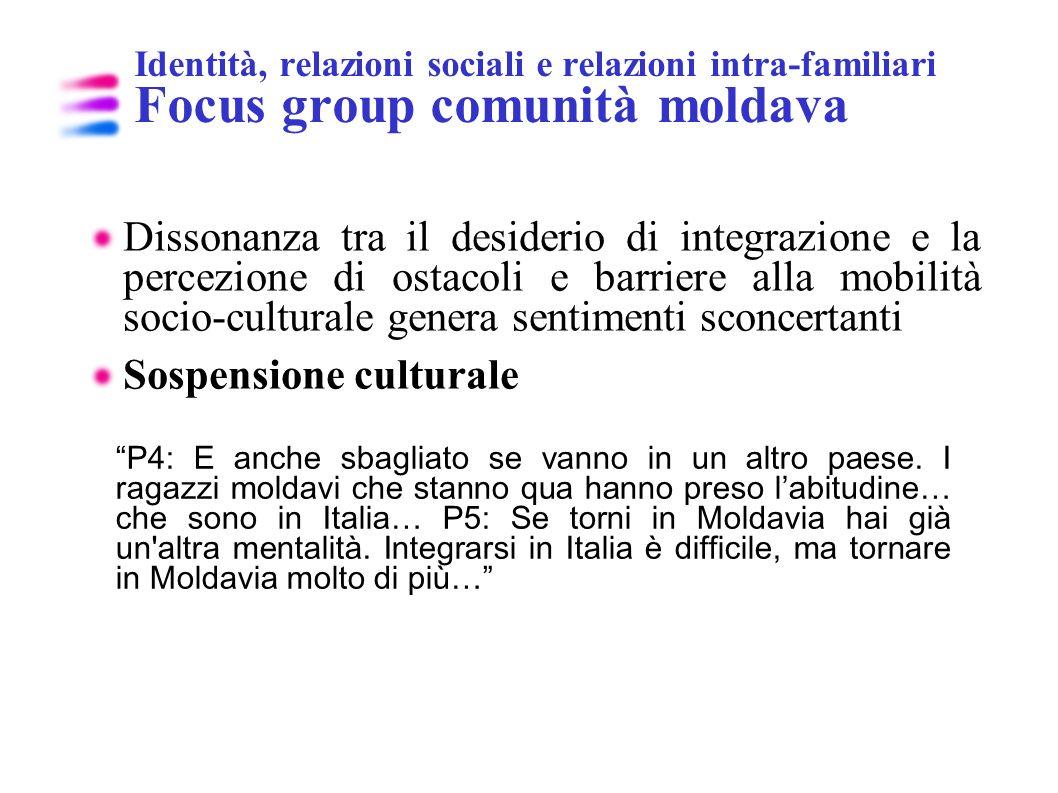Identità, relazioni sociali e relazioni intra-familiari Focus group comunità moldava Dissonanza tra il desiderio di integrazione e la percezione di os