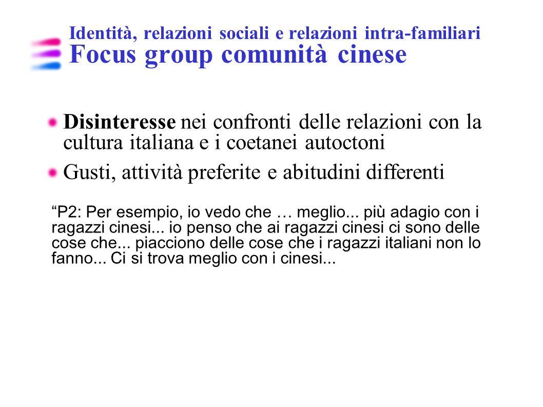 Identità, relazioni sociali e relazioni intra-familiari Focus group comunità cinese Disinteresse nei confronti delle relazioni con la cultura italiana