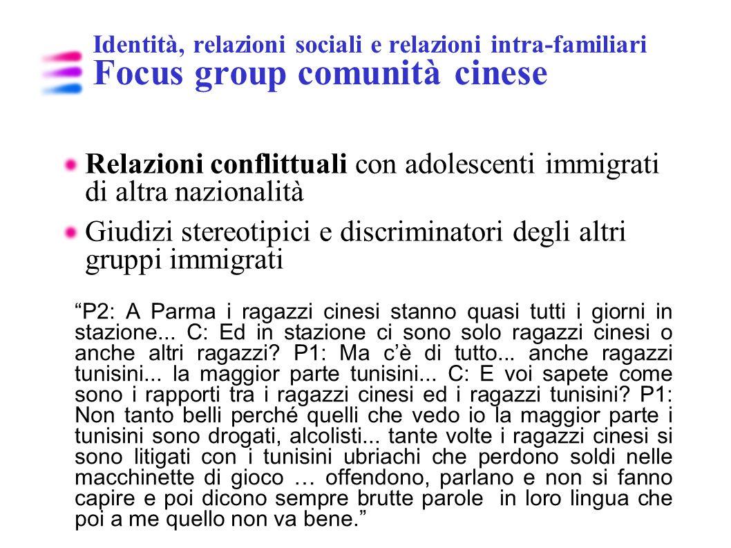 Identità, relazioni sociali e relazioni intra-familiari Focus group comunità cinese Relazioni conflittuali con adolescenti immigrati di altra nazional