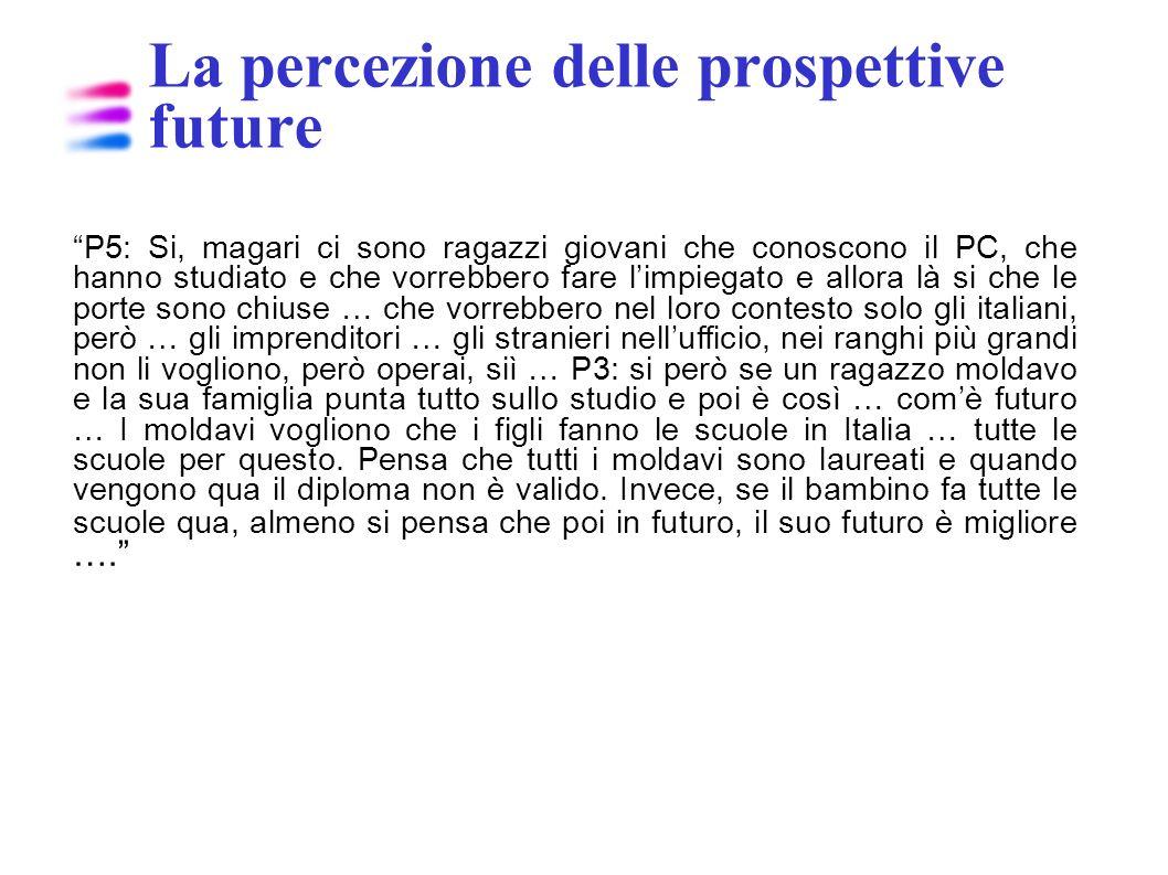La percezione delle prospettive future P5: Si, magari ci sono ragazzi giovani che conoscono il PC, che hanno studiato e che vorrebbero fare limpiegato
