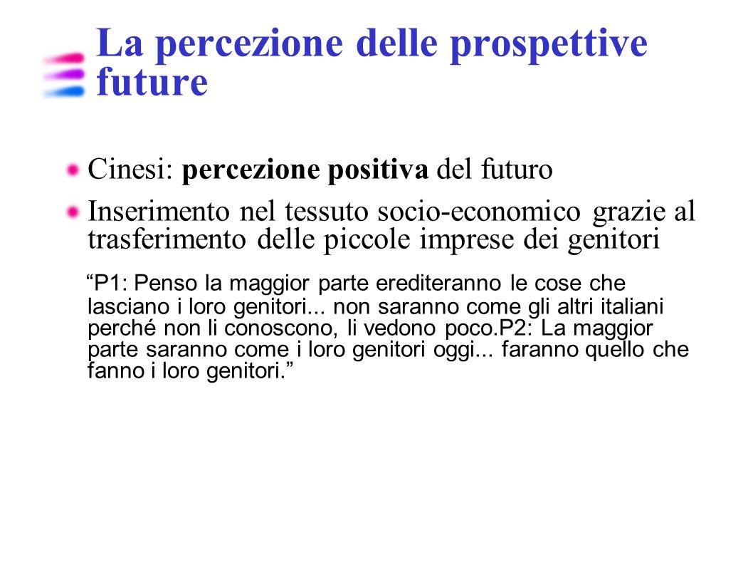La percezione delle prospettive future Cinesi: percezione positiva del futuro Inserimento nel tessuto socio-economico grazie al trasferimento delle pi