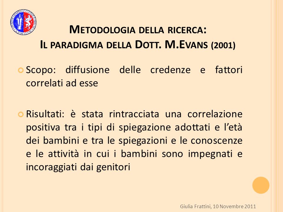 M ETODOLOGIA DELLA RICERCA : I L PARADIGMA DELLA D OTT. M.E VANS (2001) Scopo: diffusione delle credenze e fattori correlati ad esse Risultati: è stat