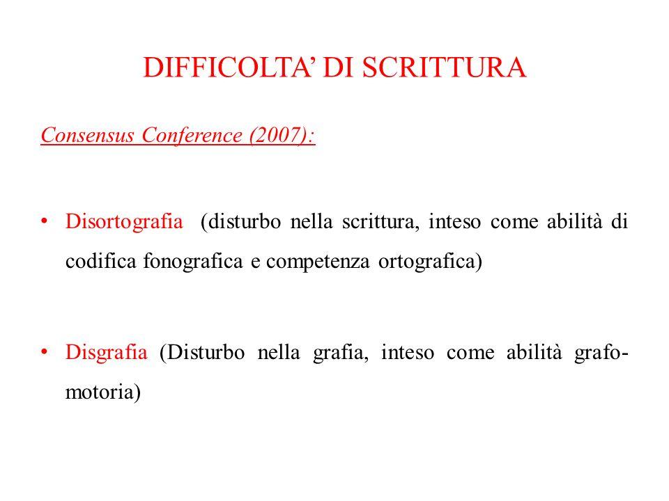 DISORTOGRAFIA (definizione) Specifica difficoltà della correttezza della scrittura intesa come processo di trascrizione tra fonologia e rappresentazione grafemica della parola Diagnosi: fine seconda elementare