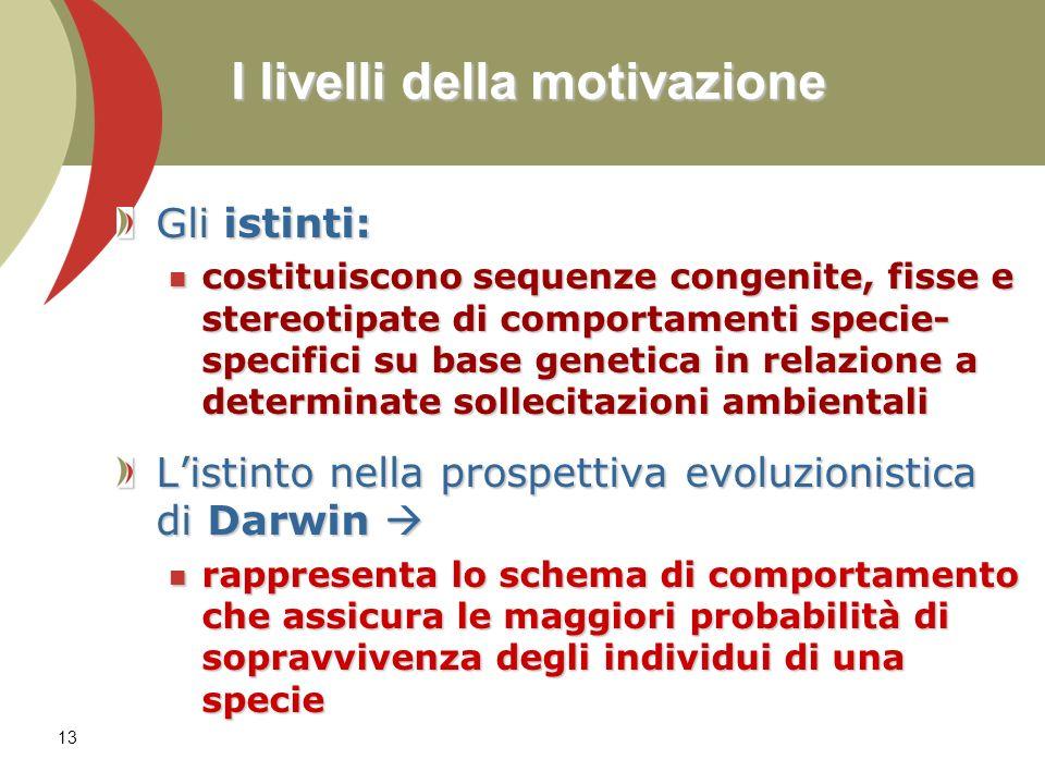 13 I livelli della motivazione Gli istinti: costituiscono sequenze congenite, fisse e stereotipate di comportamenti specie- specifici su base genetica