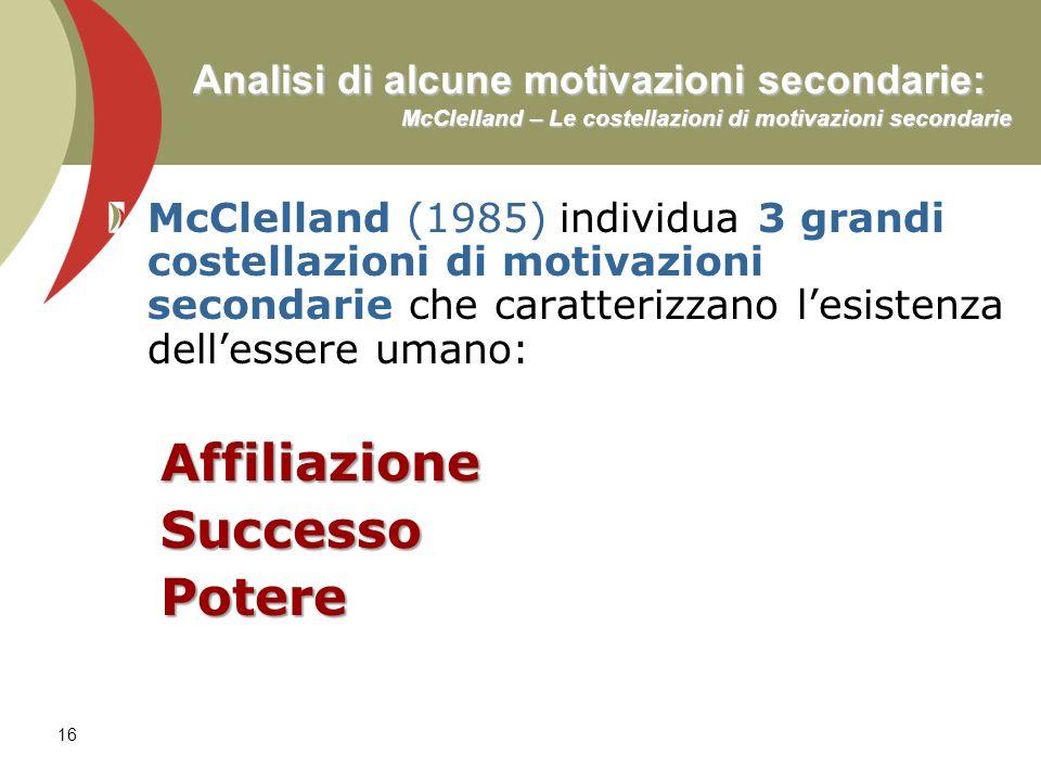 16 Analisi di alcune motivazioni secondarie: McClelland – Le costellazioni di motivazioni secondarie McClelland (1985) individua 3 grandi costellazion