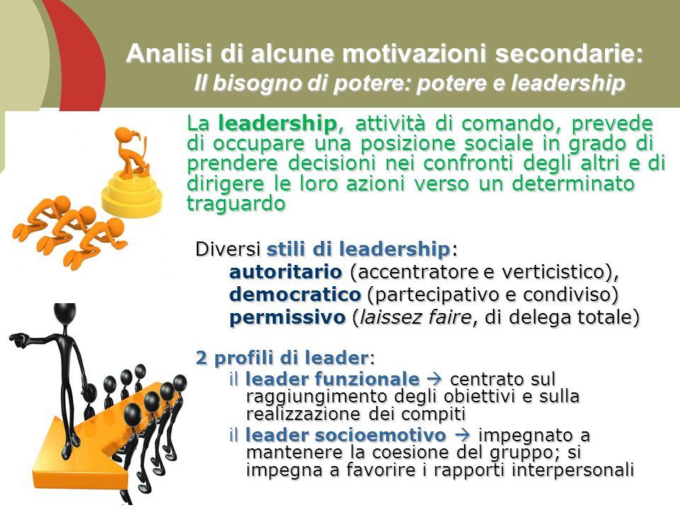 21 Analisi di alcune motivazioni secondarie: Il bisogno di potere: potere e leadership La leadership, attività di comando, prevede di occupare una pos