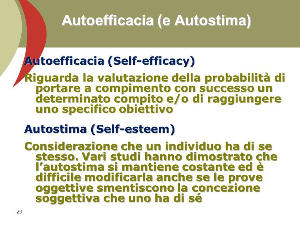 23 Autoefficacia (e Autostima) Autoefficacia (Self-efficacy) Riguarda la valutazione della probabilità di portare a compimento con successo un determi