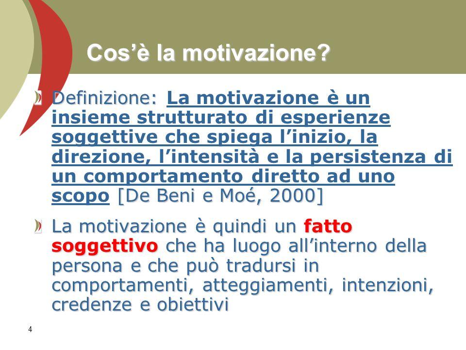 4 Cosè la motivazione? Definizione: [De Beni e Moé, 2000] Definizione: La motivazione è un insieme strutturato di esperienze soggettive che spiega lin