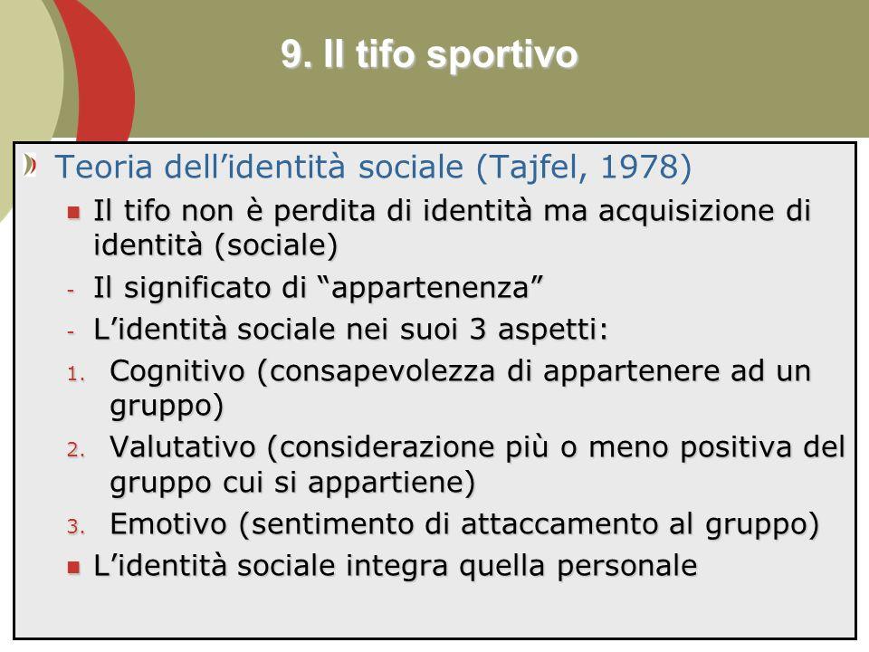 111 Teoria dellidentità sociale (Tajfel, 1978) Il tifo non è perdita di identità ma acquisizione di identità (sociale) Il tifo non è perdita di identità ma acquisizione di identità (sociale) - Il significato di appartenenza - Lidentità sociale nei suoi 3 aspetti: 1.