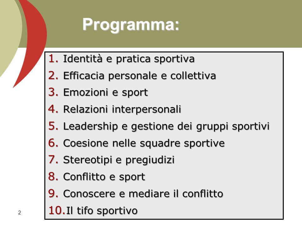 Programma: 1.Identità e pratica sportiva 2. Efficacia personale e collettiva 3.