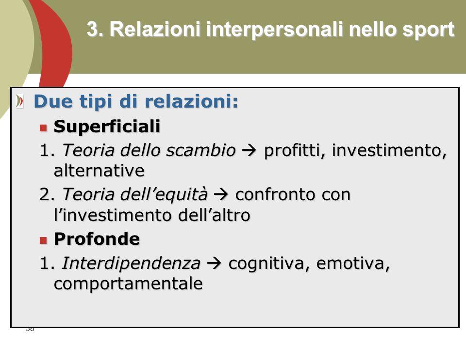38 3.Relazioni interpersonali nello sport Due tipi di relazioni: Superficiali Superficiali 1.