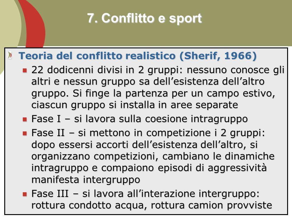 90 Teoria del conflitto realistico (Sherif, 1966) 22 dodicenni divisi in 2 gruppi: nessuno conosce gli altri e nessun gruppo sa dellesistenza dellaltro gruppo.