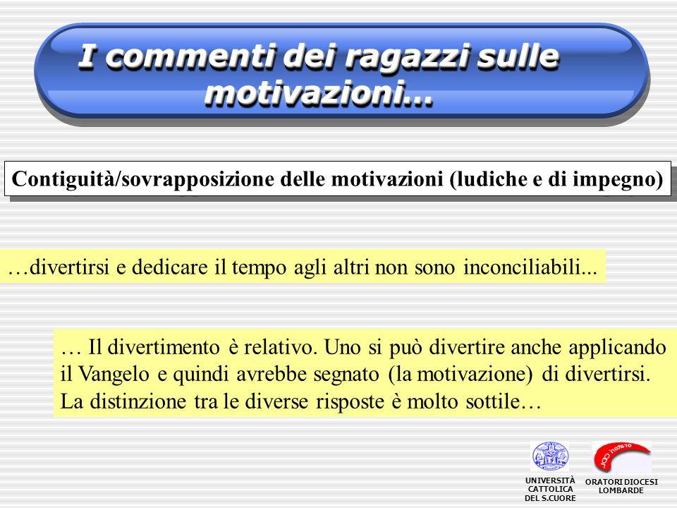 I commenti dei ragazzi sulle motivazioni… …divertirsi e dedicare il tempo agli altri non sono inconciliabili... … Il divertimento è relativo. Uno si p