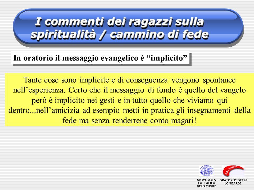 I commenti dei ragazzi sulla spiritualità / cammino di fede In oratorio il messaggio evangelico è implicito Tante cose sono implicite e di conseguenza vengono spontanee nellesperienza.