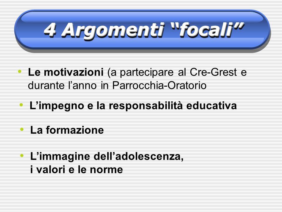 4 Argomenti focali Le motivazioni (a partecipare al Cre-Grest e durante lanno in Parrocchia-Oratorio Limpegno e la responsabilità educativa La formazione Limmagine delladolescenza, i valori e le norme