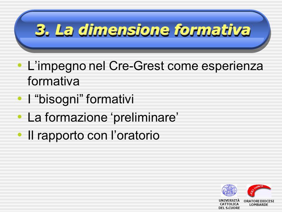 3. La dimensione formativa Limpegno nel Cre-Grest come esperienza formativa I bisogni formativi La formazione preliminare Il rapporto con loratorio OR
