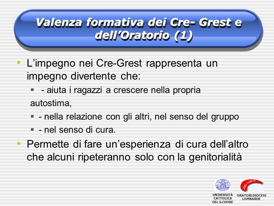 Valenza formativa dei Cre- Grest e dellOratorio (1) Limpegno nei Cre-Grest rappresenta un impegno divertente che: - aiuta i ragazzi a crescere nella propria autostima, - nella relazione con gli altri, nel senso del gruppo - nel senso di cura.
