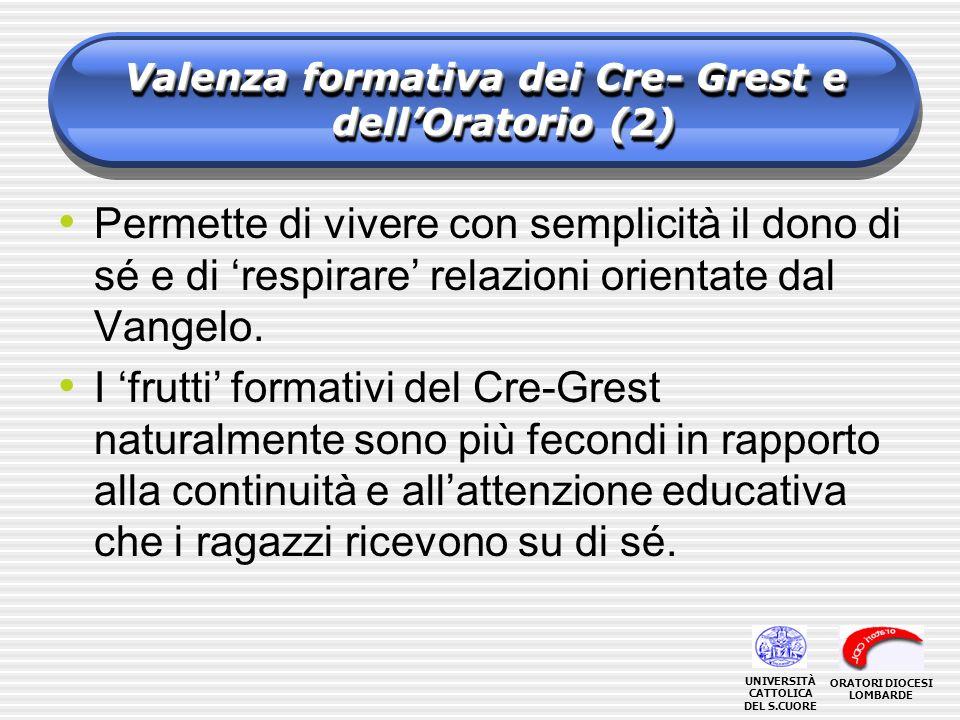 Valenza formativa dei Cre- Grest e dellOratorio (2) Permette di vivere con semplicità il dono di sé e di respirare relazioni orientate dal Vangelo. I