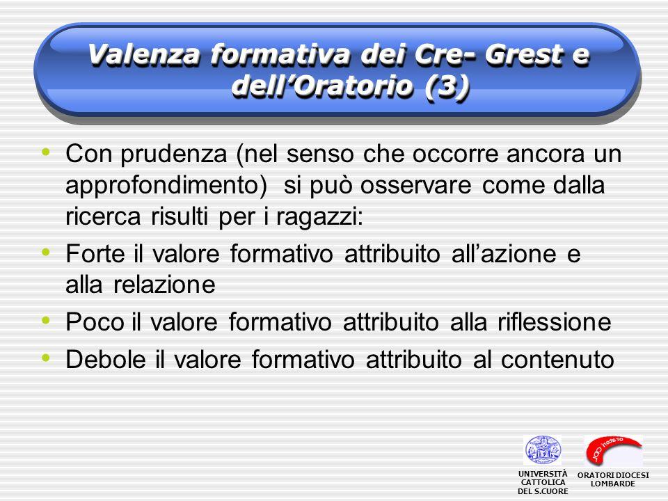Valenza formativa dei Cre- Grest e dellOratorio (3) Con prudenza (nel senso che occorre ancora un approfondimento) si può osservare come dalla ricerca