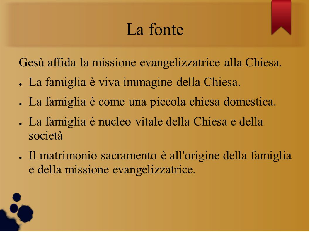 La fonte Gesù affida la missione evangelizzatrice alla Chiesa.