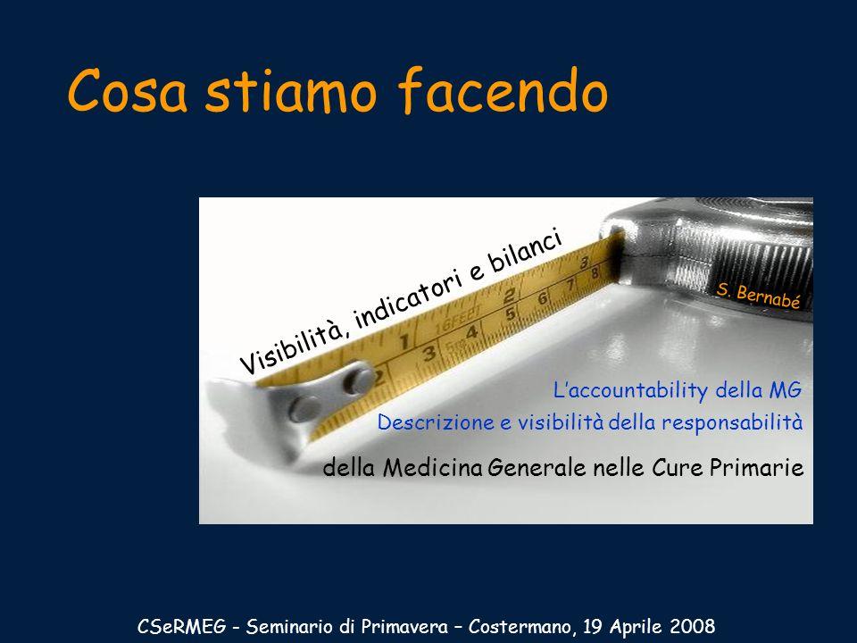 Cosa stiamo facendo CSeRMEG - Seminario di Primavera – Costermano, 19 Aprile 2008 della Medicina Generale nelle Cure Primarie Visibilità, indicatori e