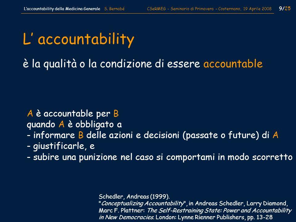9/25 Laccountability della Medicina Generale S. Bernabé CSeRMEG - Seminario di Primavera – Costermano, 19 Aprile 2008 è la qualità o la condizione di