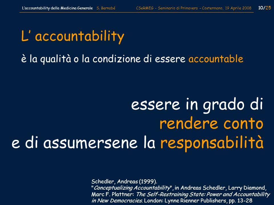 10/25 Laccountability della Medicina Generale S. Bernabé CSeRMEG - Seminario di Primavera – Costermano, 19 Aprile 2008 è la qualità o la condizione di
