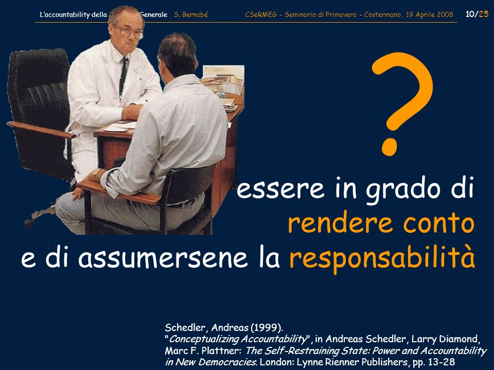 10/25 Laccountability della Medicina Generale S. Bernabé CSeRMEG - Seminario di Primavera – Costermano, 19 Aprile 2008 Schedler, Andreas (1999).
