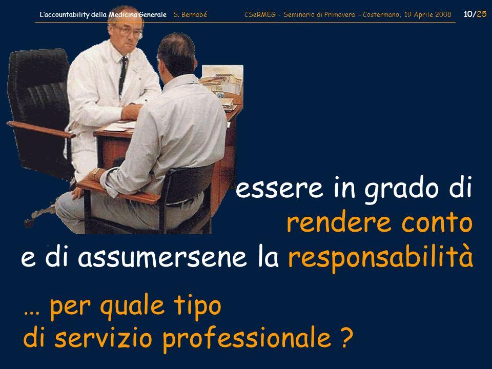 paziente … per quale tipo di servizio professionale ? essere in grado di rendere conto e di assumersene la responsabilità 10/25 Laccountability della