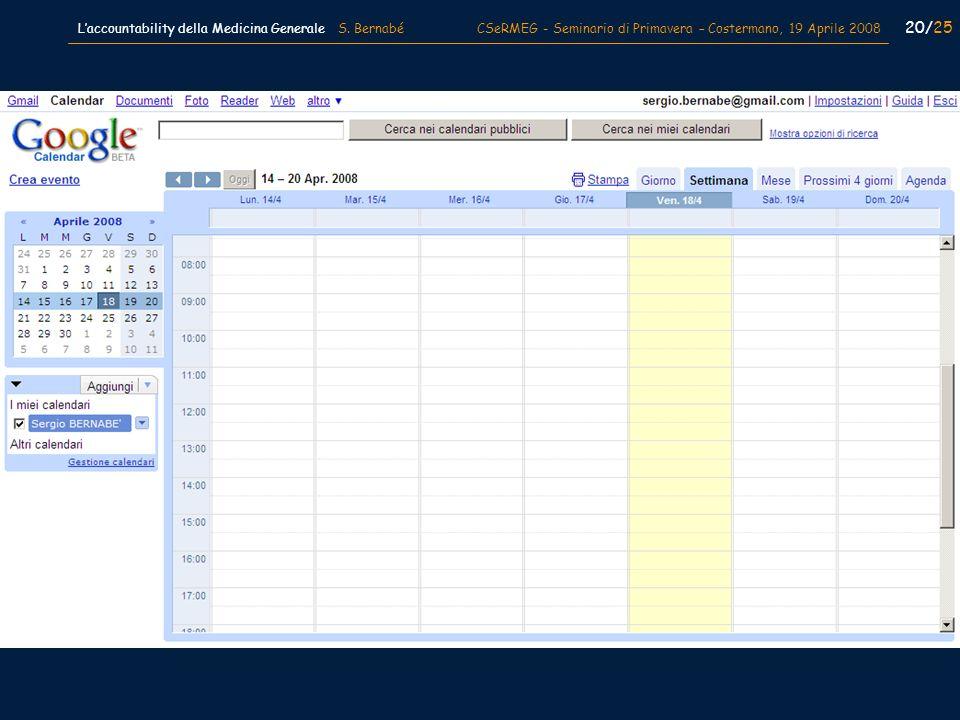 20/25 Laccountability della Medicina Generale S. Bernabé CSeRMEG - Seminario di Primavera – Costermano, 19 Aprile 2008