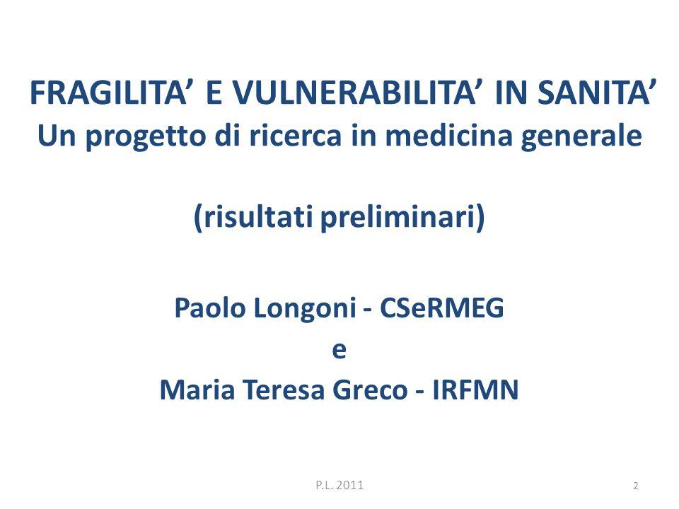 FRAGILITA E VULNERABILITA IN SANITA Un progetto di ricerca in medicina generale (risultati preliminari) Paolo Longoni - CSeRMEG e Maria Teresa Greco -