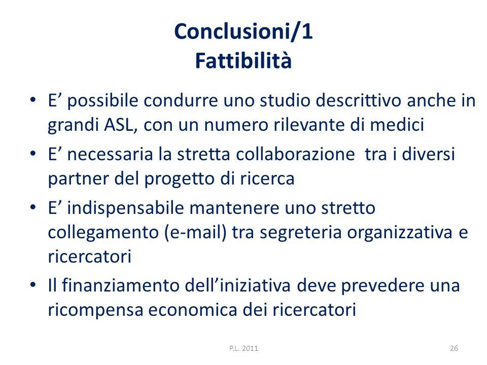 Conclusioni/1 Fattibilità E possibile condurre uno studio descrittivo anche in grandi ASL, con un numero rilevante di medici E necessaria la stretta c